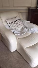 White dfs lazy boy chairs leather two