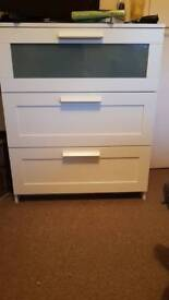 Ikea white chest of drawers and side table