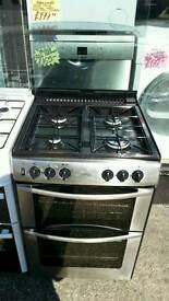BELLING 60CM GAS DOUBLE OVEN COOKER IN SILVER