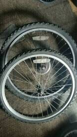 PAIR 24 INCH BIKE WHEELS WITH TYRES