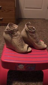 Brown leather open toe high heel