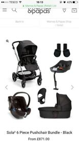 Mama's and Papa's Sola 2 6 piece travel system plus extras - black and silver. REDUCED PRICE