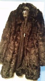 Brand new lipsy faux fur coat size 8 black