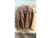 Mens Strellson Light Brown / Tan Leather Jacket 42 Medium