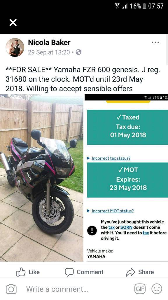 FZR 600 FOR SALE