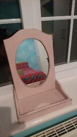Pink shabby chic dressing table mirror.