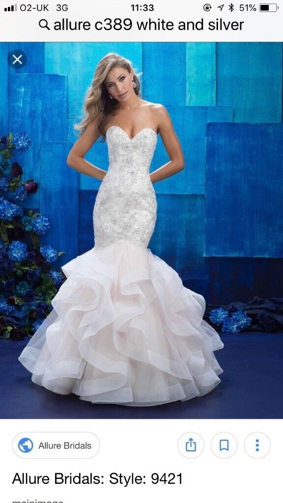 Stunning Fishtail Wedding Dress Allure Couture C3 89 This Ruffled White And Silver Gown Sparkles