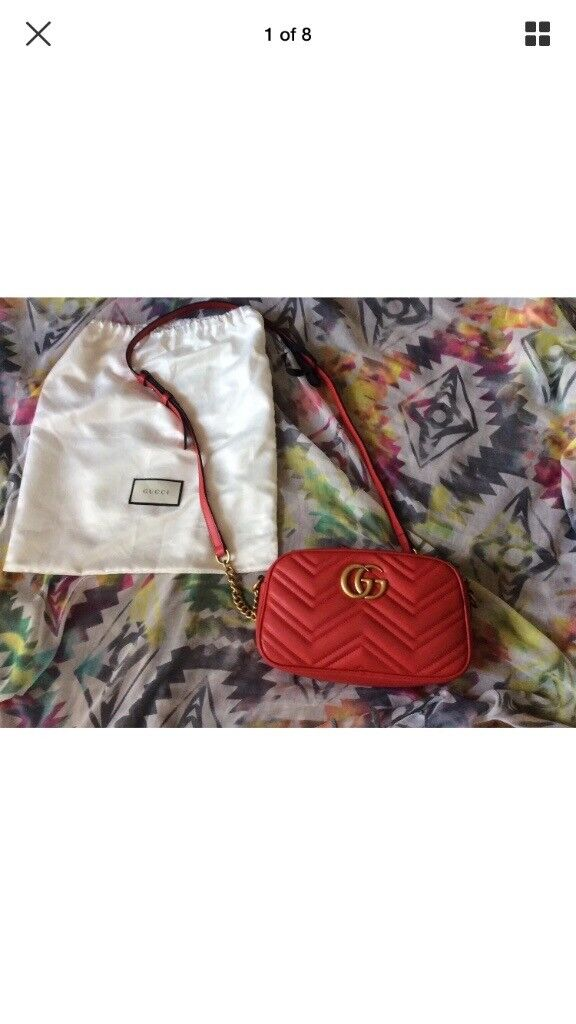 cdd48ad3c Gucci GG Marmont matelasse small shoulder bag in red | in Edinburgh ...