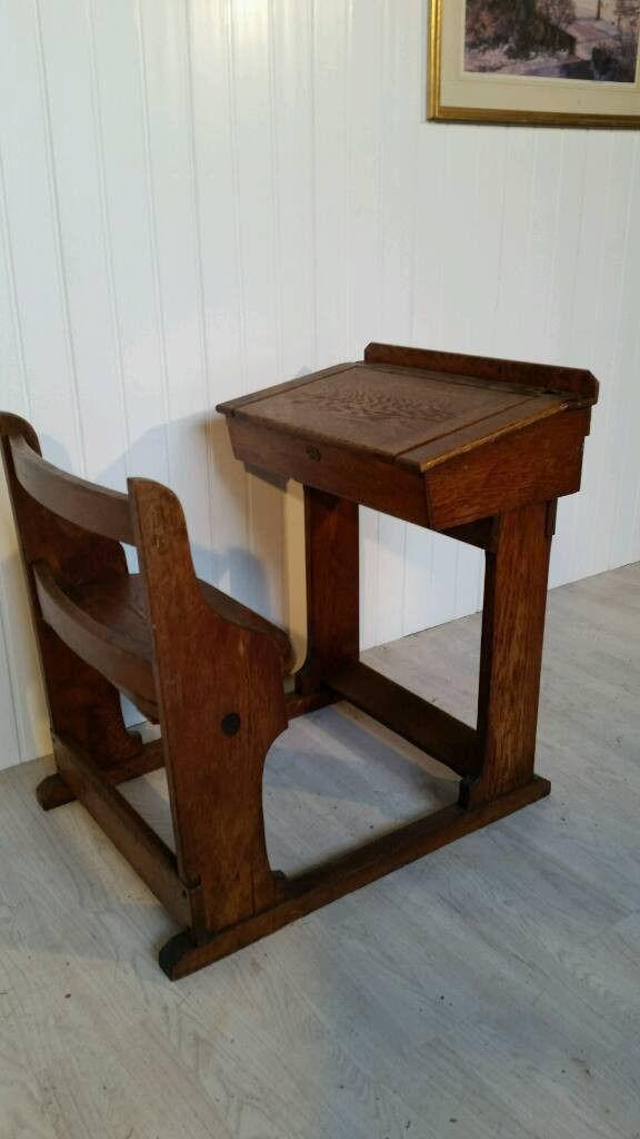 Attractive Solid Oak Victorian School Desk