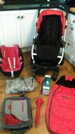 Mama's & Papa's Moove travel system, pram, pushchair, car seat and accessories