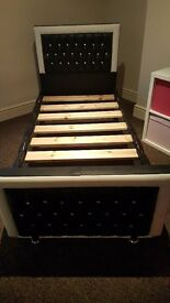 Single black and white diamonte bed frame