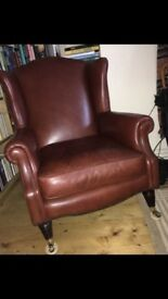 Laura Ashley brown leather armchair, good condition