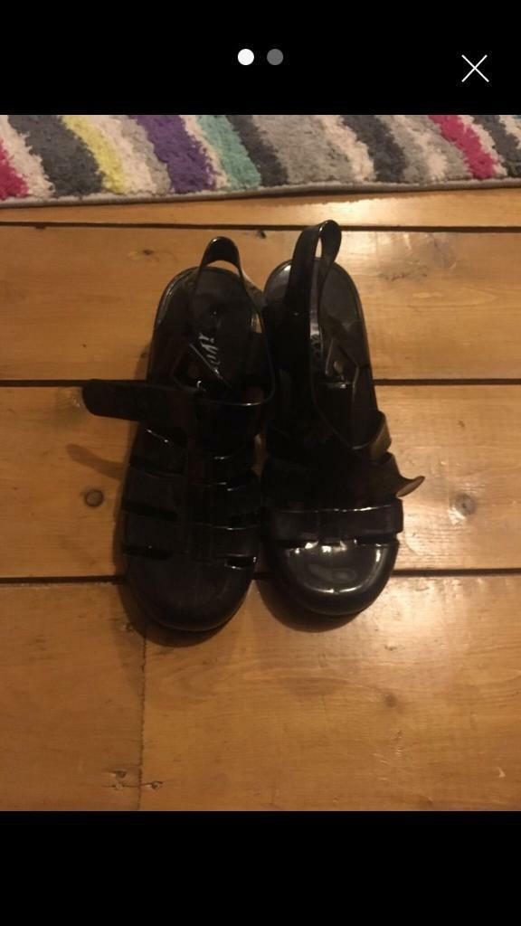 e5b84930b5 Black heeled jelly shoes size 3. | in Bolsover, Derbyshire | Gumtree