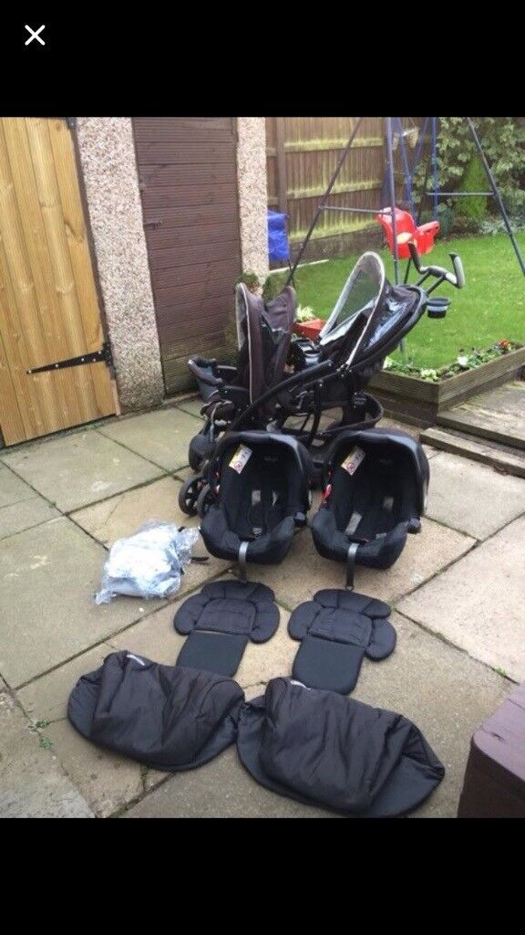New Born Twin Pram Pushchair Infant Stroller Seat