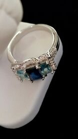 BRAND NEW 2 CARATS BLUE SAPPHIRE, AQUAMARINE, WHITE TOPAZ, GENUINE 925 SOLID STERLING SILVER RING