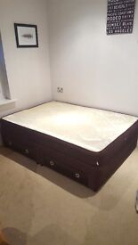Divan Double Bed: Frame with 4 Drawers and Mattress