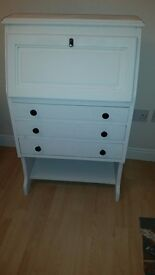 Shabby chic oak bureau/desk finished in Annie Sloane chalk paint with lovely chair £95