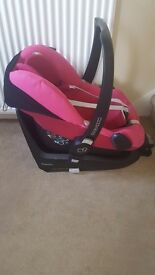 Maxi cosy pink pebble car seat and Isofix maxi cosy base 2 way (up to age 4 base)