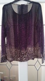 Ladies leopard print ombre top, size 10