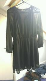 Black Chiffon Dress with sheer sleeves