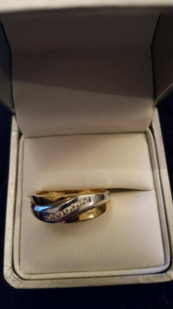 Mens two tone diamond ring