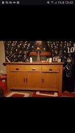 solid oak living room unit