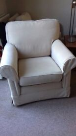 Two Matching Armchairs In Beige/Cream, Machine Washable With Arm Protectors