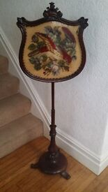 Rosewood antique firescreen on pole with bird tapestry