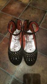 Girls black Diamonte shoes size 2