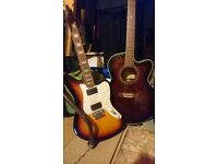 Shine Electric Guitar with FENDER AMP (As new)