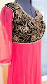 Indian Anarkali suit dress black and pink with golden embroidery UK size 12