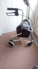 Mobility tri 3 wheeled walker with brake's and shopping bag used once excellent condition