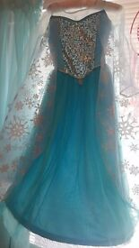 Deluxe Disney Store Elsa Frozen Dress age 7-8