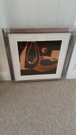 Handmade abstract art in a hammered copper effect frame...BRAND NEW!
