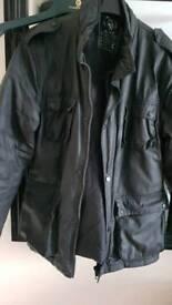MEN'S BLACK WATERPROOF COAT MOTORCYCLE STYLE. EXCELLENT CONDITION