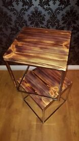 Side tables (handmade), coffee table