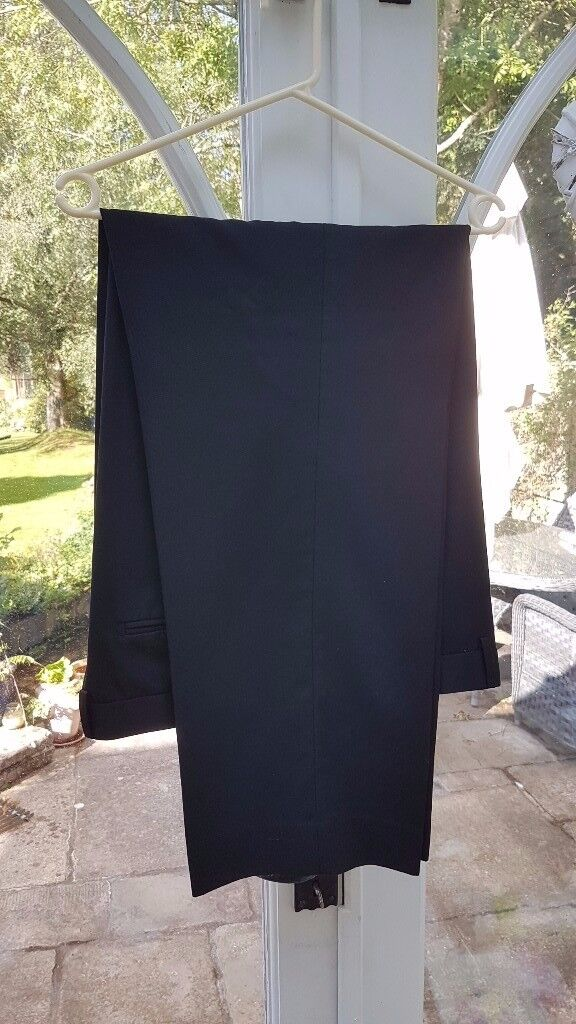 Moss Bros black suit trousers