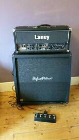Laney TT100H guitar valve amp head and H&K celestion v30 4x12 cab.