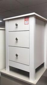 3 drawer white bedside