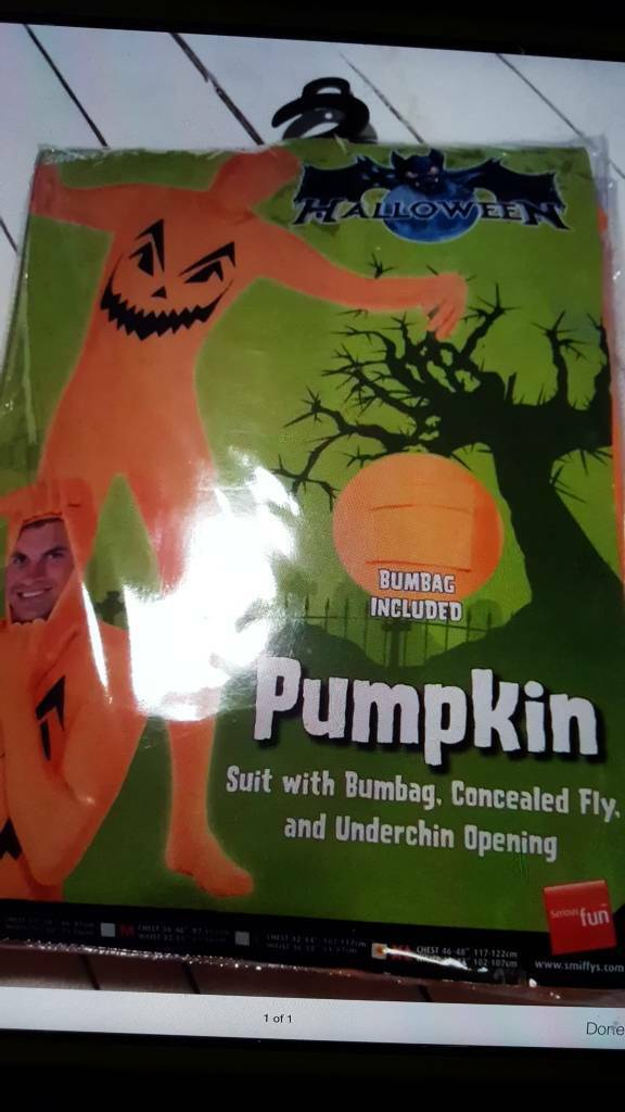 Men's smiffys Halloween pumpkin morph suit XL new