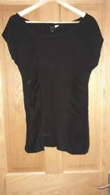 Womens girls black ruched top size 12-14