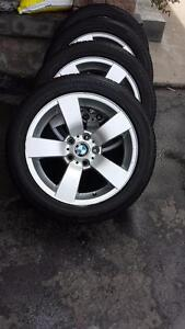 BMW 528 X DRIVE FACTORY ALLOY WHEELS WITH HIGH PERFORMANCE BRIDGESTONE TURANZA  ' H ' RATED 245 / 45 / 17 .ALL SEASONS