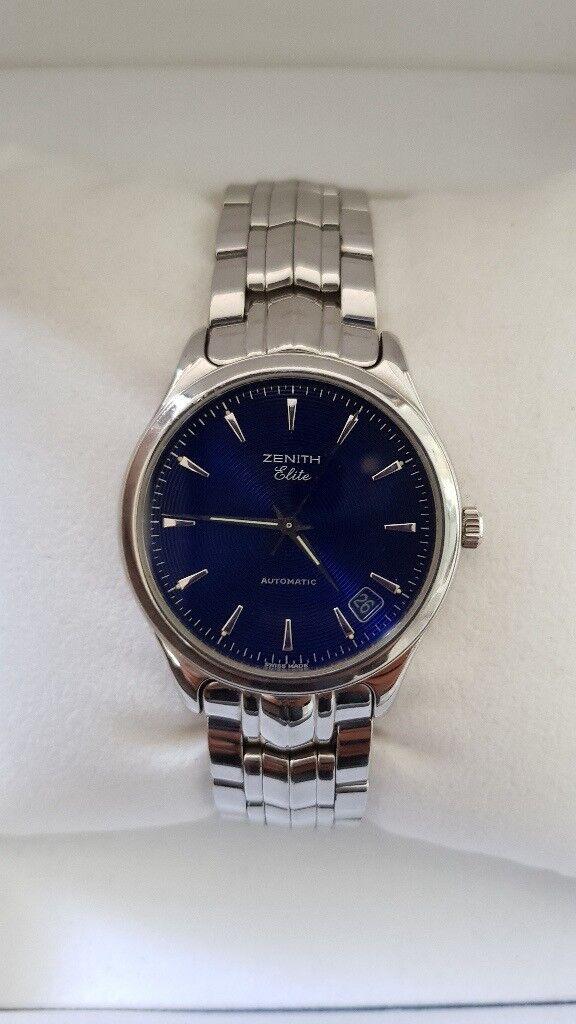 Rare Men's ZENITH Elite Automatic Cobalt Blue Watch with Box