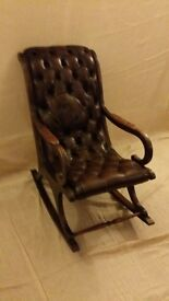 Chesterfield Rocker Chair, VGC, Tan / Brown Leather. ..