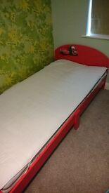 Junior Lightning McQueen Wooden Single Bed with Mattress