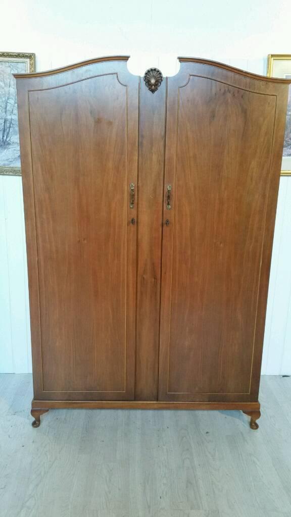 Large Vintage Arch Top Double Walnut Wardrobe