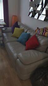 Grey 3 seater leather sofa