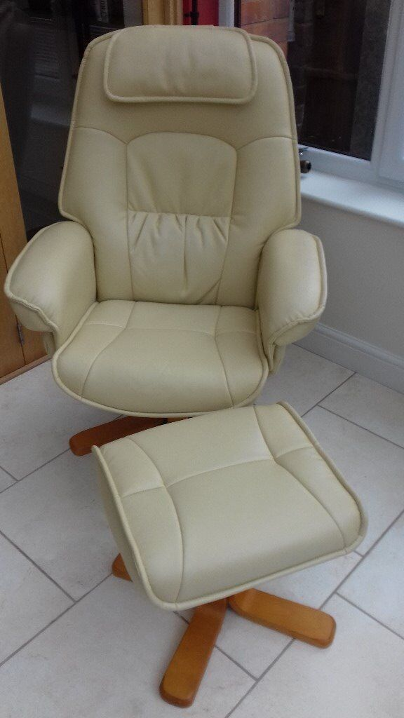 2 Cream Leather Recliner Chairs With Footstools In