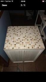 Beautifully up styled cabinet / small console chalk painted and mosaic tile top