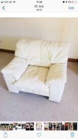 Cream leather sofa plus 2x chairs